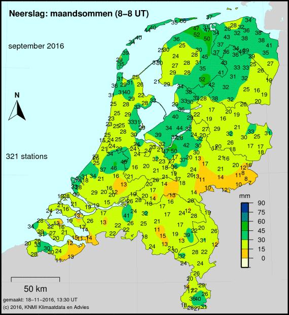 Totale neerslag van september cumulatief