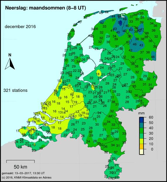 Totale neerslag van december cumulatief