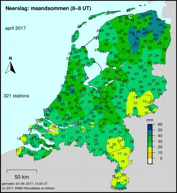 Totale neerslag van april cumulatief