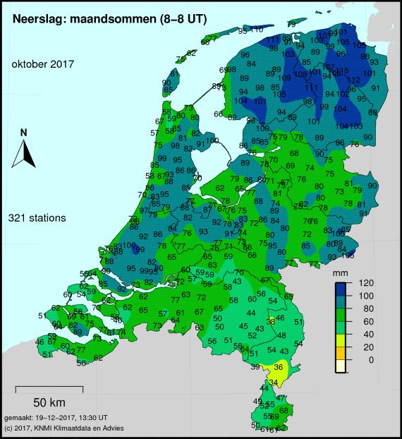 Totale neerslag van oktober cumulatief