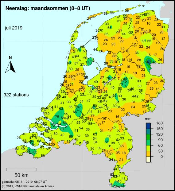 Totale neerslag van juli cumulatief