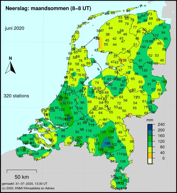 Totale neerslag van juni cumulatief