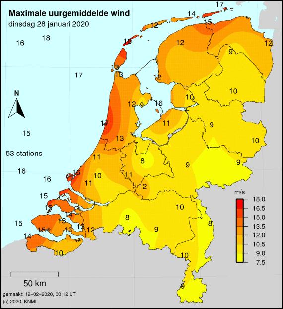 KNMI maximale uurgemiddelde wind