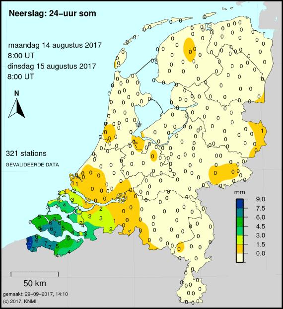 Neerslagkaart van Nederland per postcode of plaats
