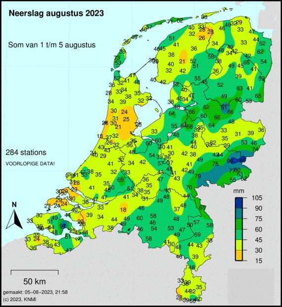 Totale neerslag van deze maand cumulatief