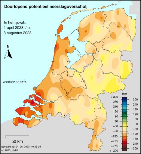 Potentieel neerslagtekort Nederland