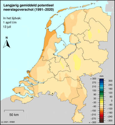 Potentieel neerslagoverschot - Langjarig gemiddelde 1971-2000 - Lopend tijdvak