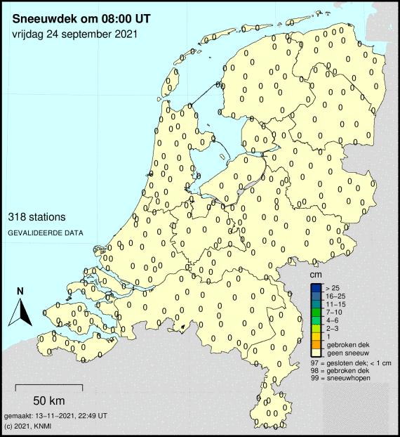Sneeuwhoogte van Nederland