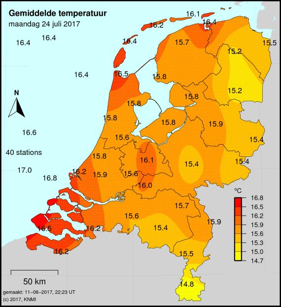 temperatuurkaart afgelopen 24 uur