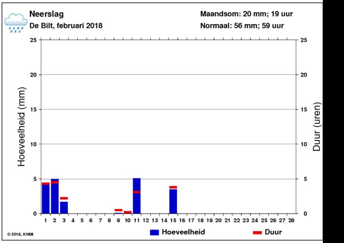 Neerslaggrafiek van februari per dag