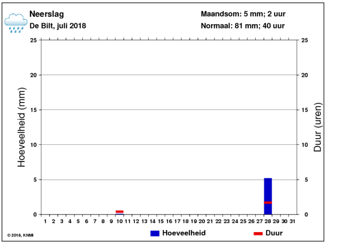 Neerslaggrafiek van juli per dag