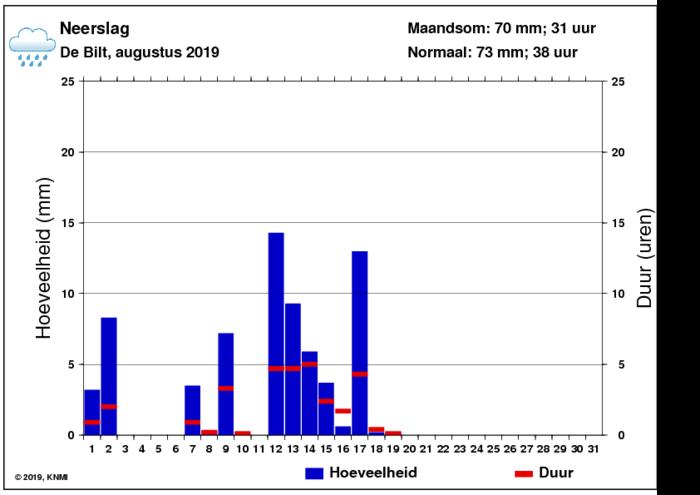 Neerslaggrafiek van augustus per dag