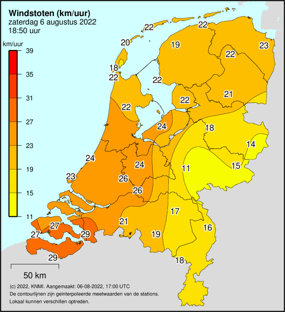 maximum windstoot Nederland