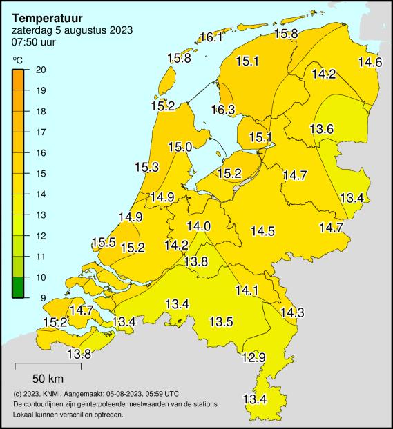 Deze temperatuur kaart is geplaatst op onze Website naar aanleiding van een tip van: Judith