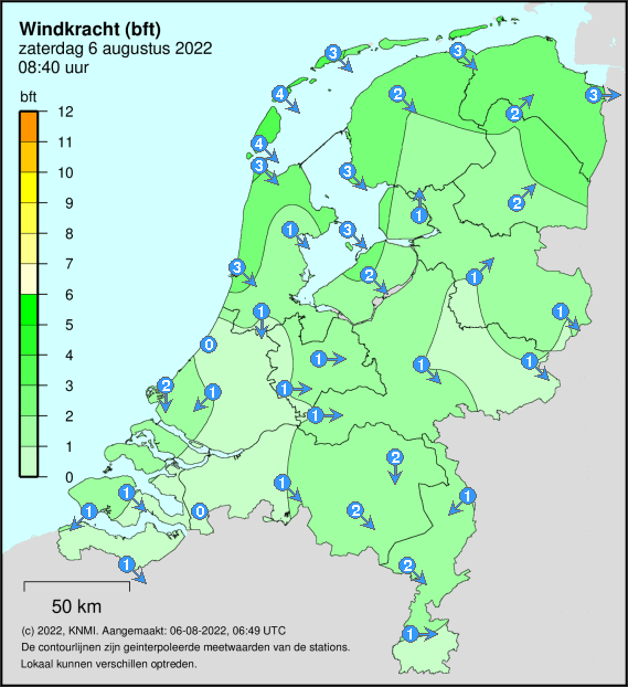 Actuele windsnelheid in Nederland in bft