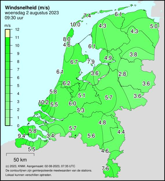 windsnelheid (m/s)