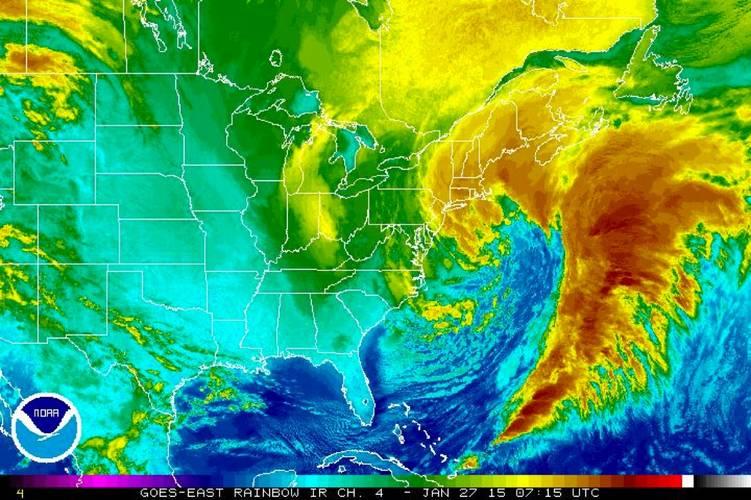 Infrarood beelden van de sneeuwstorm aan de oostkust van de VS