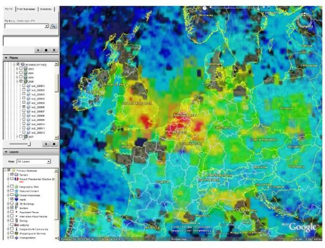 Figure 1a. Monthly average of Sciamachy NO2 tropospheric columns over Europe visualized in Google Earth.