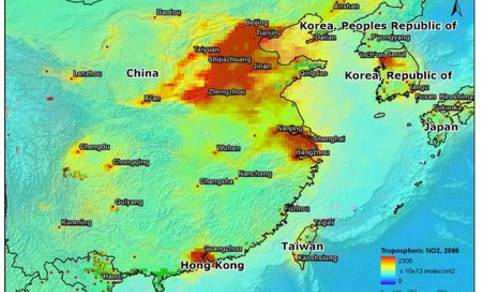 Figure 2. Tropospheric NO2 distribution from Sciamachy combined with the orography of eastern China with major cities, in ESRI's ArcGIS.