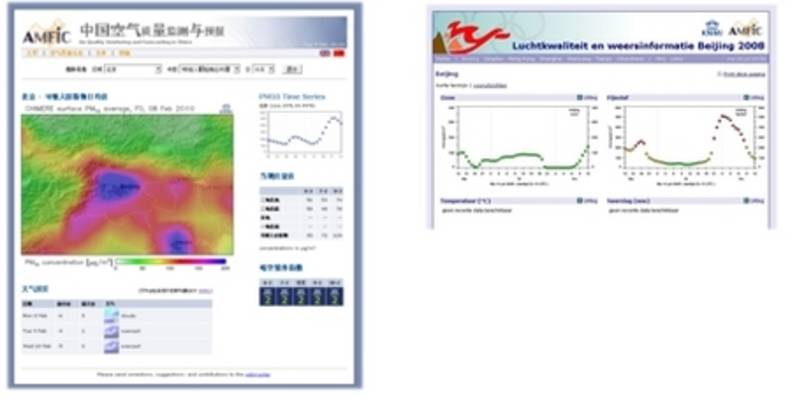 Figure 4. Presentation of operational air quality forecasts on the internet. Left the AMFIC air quality bulletin (http://www.amfic.eu/bulletin), showing maps of forecasted concentrations of ozone, PM10, and NO2 for urban areas in China.