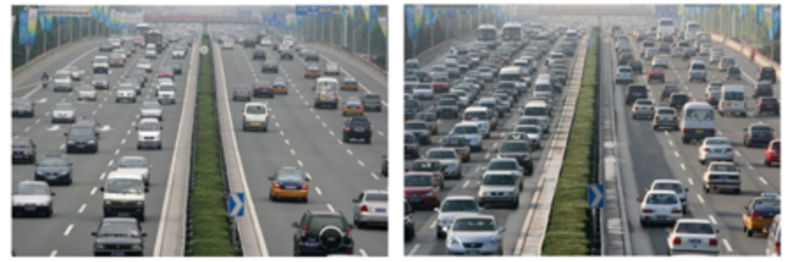 Figure 5. Morning traffic flow on the East 4th Ring Road in Beijing during the restrictions on Friday 19 September (left), and after the restrictions on Monday 22 September (right) (source: China Daily).