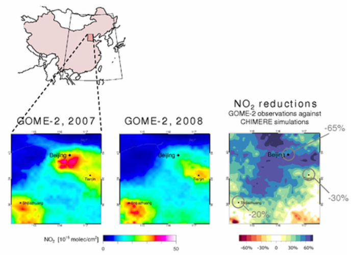 Figure 6. Observations of the tropospheric NO2 columns by GOME-2 over the Beijing area during the Olympic period (middle panel) and the corresponding period one year before (left panel).