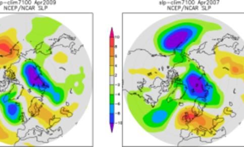 Figuur 2b. Luchtdrukafwijkingen van normaal in april 2007 (links) en april 2009 (rechts) in de NCEP/NCAR reanalysis