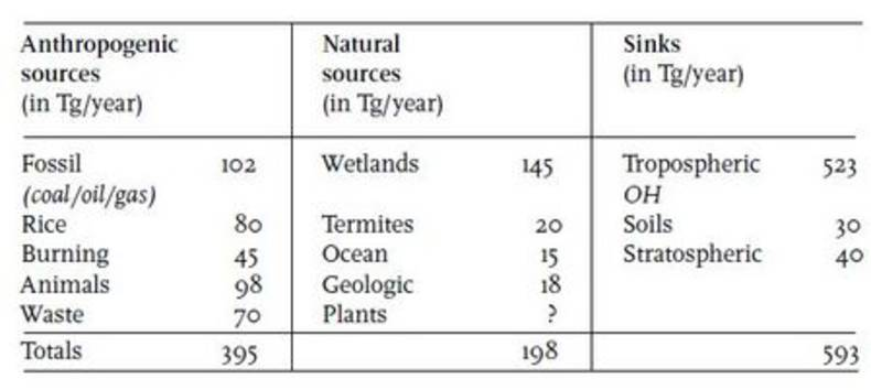 Table 1. The global methane budget. Methane sources and sinks estimates5). A new, so far unaccounted, plant source has been reported recently10). A closed global budget has been assumed (no trend).