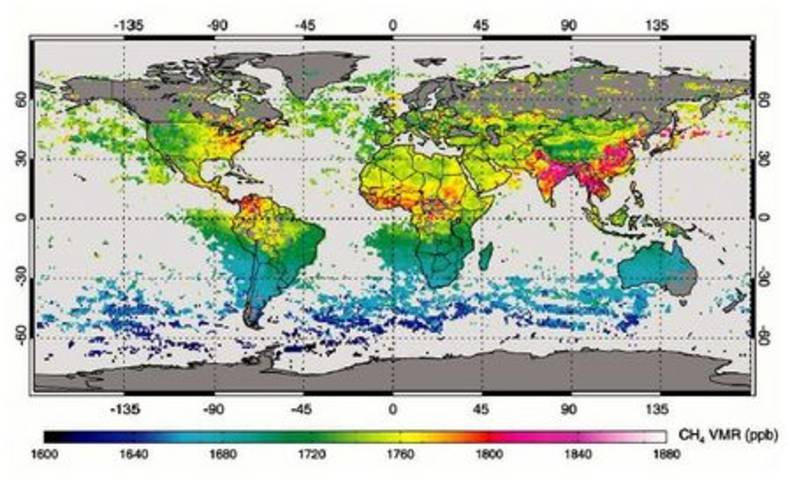 Figure 2. The unequal global distribution of atmospheric methane showing, amongst others, significant sources of methane over Asia.