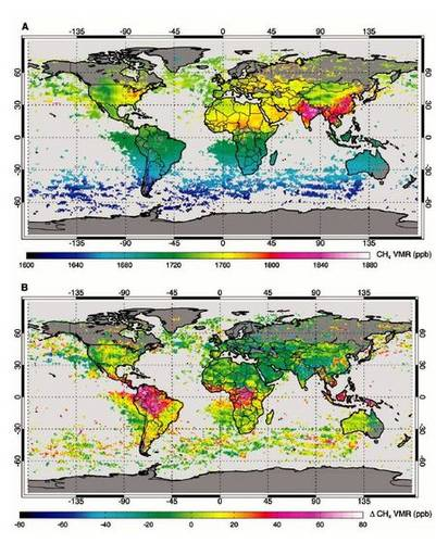 Figure 3. The sources of methane in tropical areas have been systematically underestimated. This conclusion could be drawn from simulation of the SCIAMACHY methane observations with a model (upper panel).