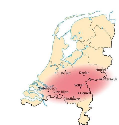 Figuur 6. Kaartje van Nederland met de stations waar de CNT op gebaseerd is.De rode plek is ruwweg het gebied omsloten door deze stations en waarvoor de CNT reeks representatief is. (bron: Bosatlas van het klimaat)