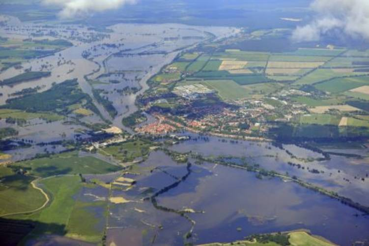 Figure 1: Photo of the flooding near Havelberg (Germany) on 10 June2013 (source: Wikipedia).