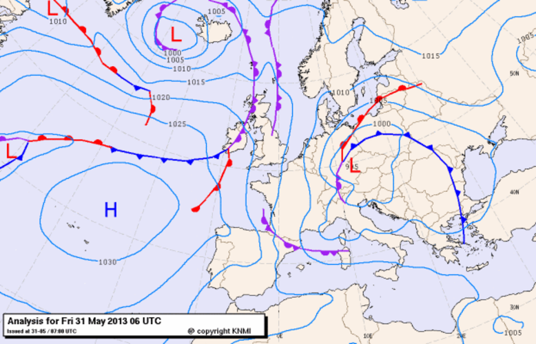 Figure 6: Weather chart for Friday 31 May 2013, 6 UT (source: KNMI, The Netherlands).