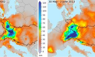 Figure 7: Total precipitation amount observed between 11 and 12 August 2002 (left) and between 30 May and 2 June 2013 (right; same data as in Figure 2) (source: E-OBS).