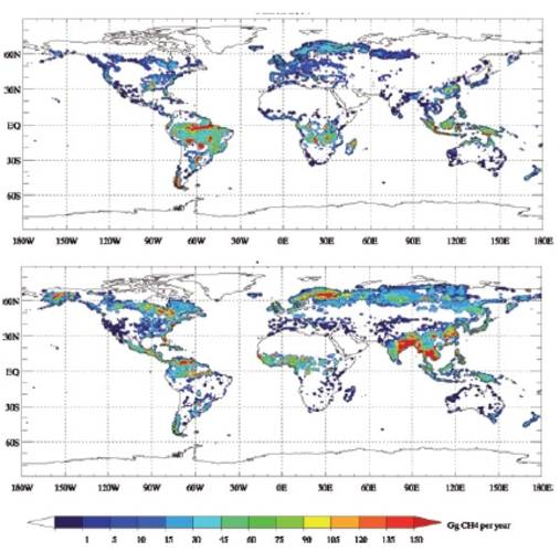 Figure 1. Modelled CH4 wetland emissions for March (top) and September (bottom) of the year 2004. Units: Gg (109 g) per grid cell per year.