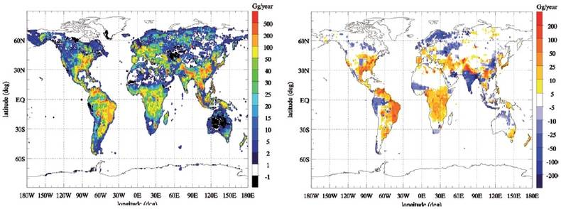 Figure 2. (top panel) Observationally constrained global annual CH4 emission distribution for the year 2004. (bottom panel) Differences between the observationally constrained emissions and prior knowledge on CH4 emissions. Both natural and anthropogenic