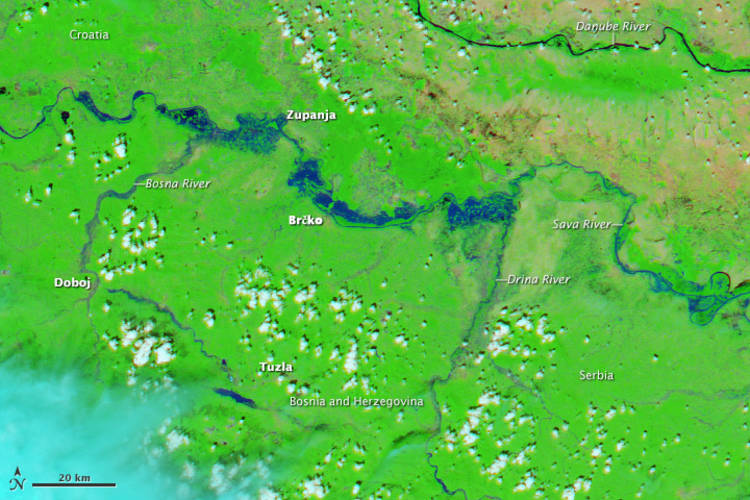 MODIS false colour image of the flooding of the Sava River (source: NASA Earth Observatory)