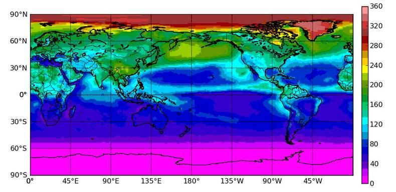 Figuur 3: Door CERES satellietsensoren gemeten uitgaande kortgolvige stralingflux aan de top van de atmosfeer voor juni 2000-2009 in W/m2.