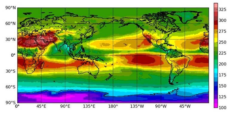 Figuur 4: Door CERES satellietsensoren gemeten uitgaande langgolvige stralingflux aan de top van de atmosfeer voor juni 2000-2009 in W/m2.