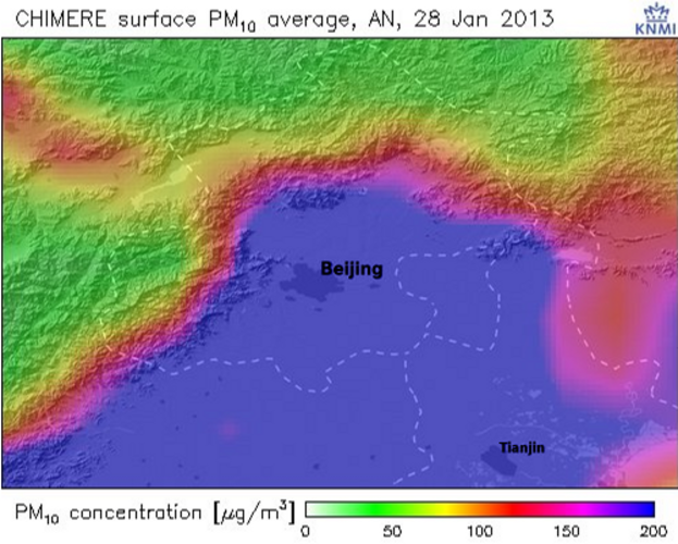 Model berekening fijnstofconcentraties voor Beijing en havenstad Tianjin.