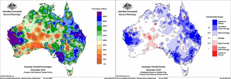 Figuur 2. Regen in Australië december 2010. Links afwijking van normaal, rechts hoe vaak dit voorkomt. Bron: Bureau of Meteorology, Australië.