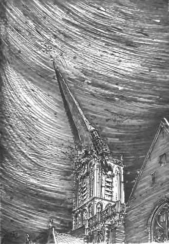 Figuur 1: De hoge naaldspits van de Jacobitoren en de uitgebouwde carilliontoren storten neer. (getekend door Th. Haakma Wagenaar, in opdracht van Restauratiecommissie `Vijf Middeleeuwse Kerken', Utrecht.)