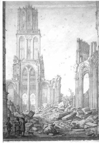 Figuur 2: Gezicht op de ruine van het schip van de Domkerk te Utrecht uit het oosten: het schip, met op de achtergrond de westgevel, en de Domtoren. (H. Saftleven, Collectie beeldmateriaal Het Utrechts Archief cat.nr 28635).