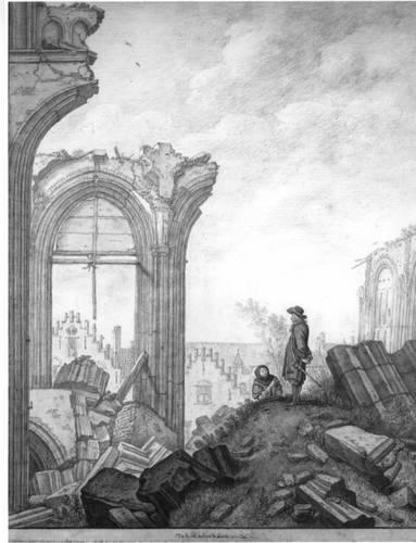 Figuur 6: Gezicht op de ruine van het schip van de Domkerk te Utrecht uit het zuiden: de laatste scheiboog aan de noordzijde van de middenbeuk, boogrestanten van de noorderzijbeuk en op de achtergrond gedeelten van de voorgevels van de huizen aan de noord