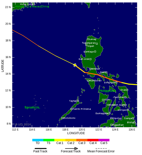 Track of typhoon Glenda / Rammasun on July 16. Source: Tropical Storm Risk