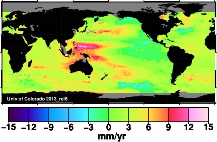 Figuur 3: Regionale zeespiegelveranderingen in de periode 1993-2012 (in millimeters per jaar, bron: http://sealevel.colorado.edu)