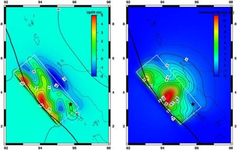 Fig. 2. Berekende verplaatsing van de zeebodem door aardbeving. Links: verticale verplaatsing. Rechts: horizontale verplaatsing. De dikke zwarte lijn geeft de rand van Indo-Australische plaat weer. De dunne zwarte lijn de Euraziatische plaat.