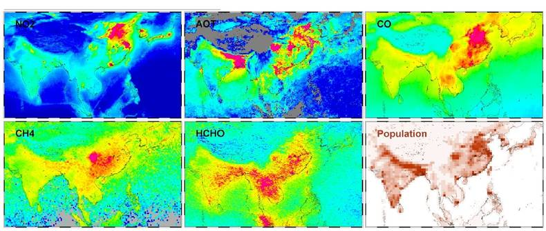 Figure 2. Tropospheric concentrations of key species over Asia, originating from several instruments. Colour scale concentrations range from red, via yellow and green, to blue, which represent very high, high, medium and low values, respectively. For popu