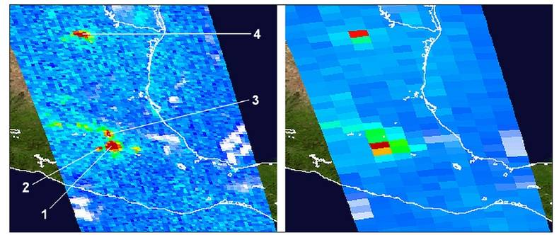 Figure 4. Tropospheric NO2 around Mexico City on 20 January 2005. The image on the left shows OMI measurements recorded in the so-called 'zoom-in mode', resulting in ground pixels of the order 12 × 13 km2. De numbers refer to: 1 = Mexico City and suburbs;