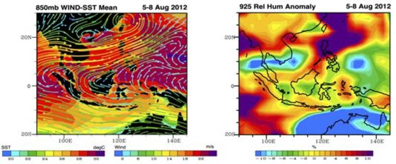 Figure 3. Left: The 850mb wind situation overlay to Sea Surface Temperature. Right: The anomaly of 925mb Relative Humidity (around 800 meter height).